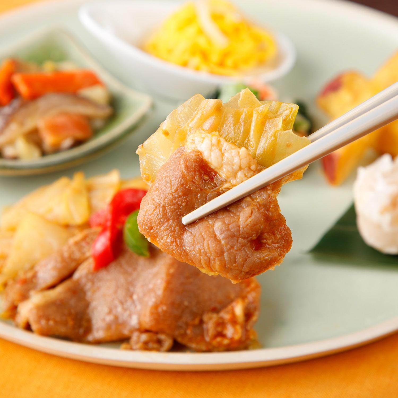 気くばり御膳 ホイコーロー(豚肉とキャベツの味噌炒め)セット