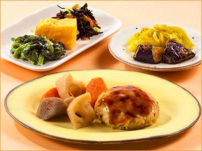 気くばり御膳 鶏と野菜の豆腐ハンバーグとおかず6種