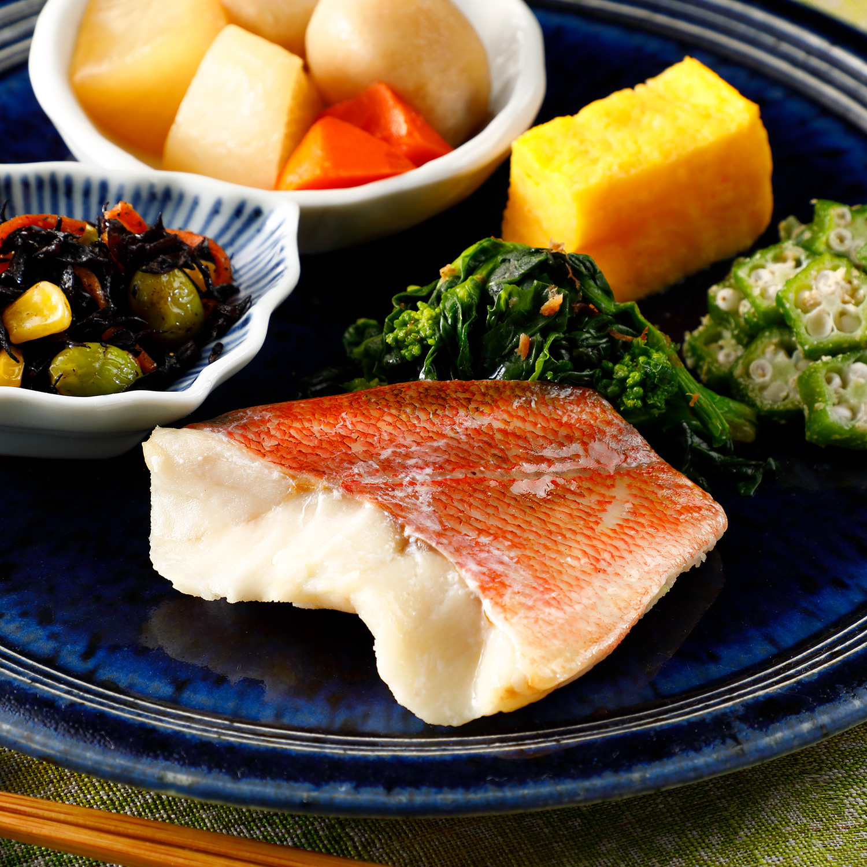 気くばり御膳 赤魚の粕漬け焼きとおかず5種