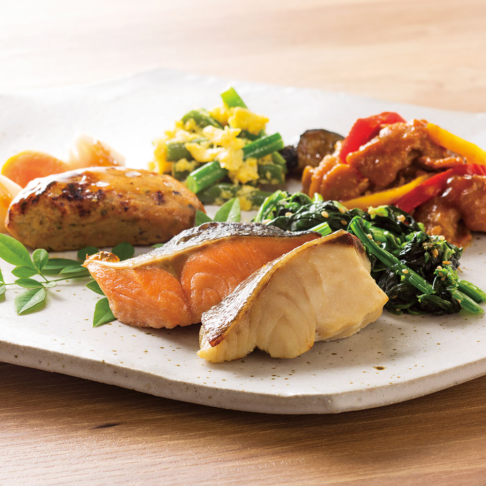 PD 2種の魚の粕漬け焼き&豚の味噌炒めプレート
