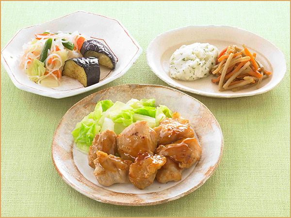 気くばり御膳 鶏肉の照り焼き風とおかず4種