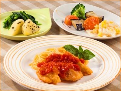 気くばり御膳 若鶏のグリル トマトソース仕立てとおかず5種