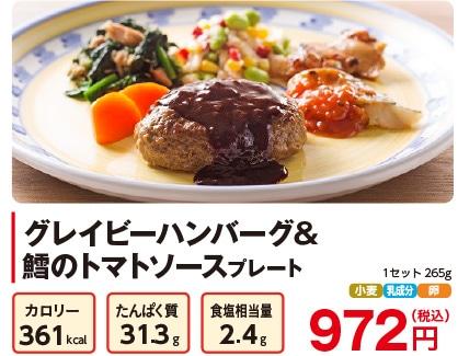 気くばり御膳パワーデリ グレイビーハンバーグ&鱈のトマトソースプレート